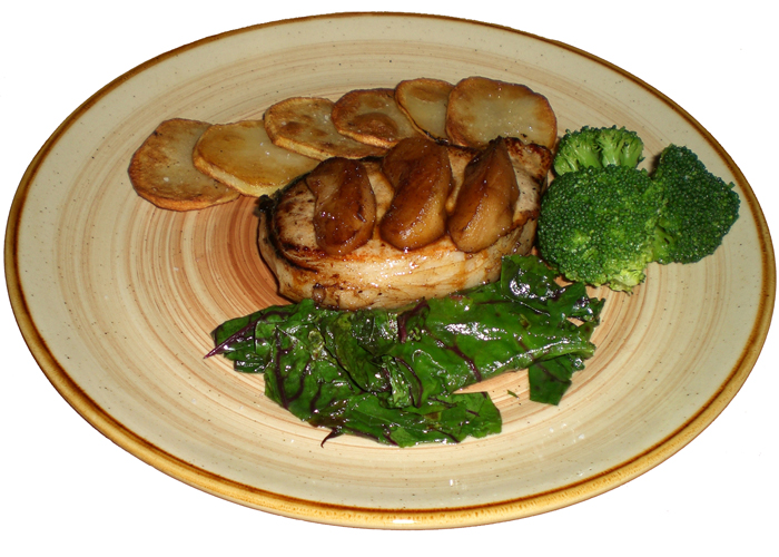 Apple Pork Chops with Potato crisps