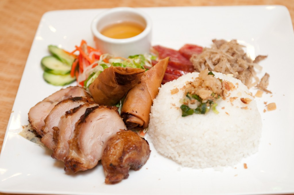 Grilled Chicken, egg roll, sausage & shredded pork skin with broken rice