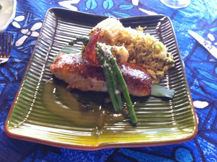 Crab stuffed mahi mahi served with a mini lobster tail