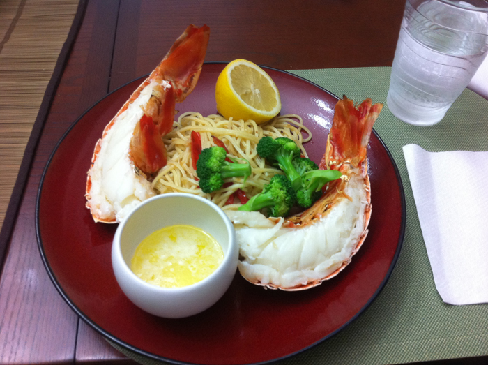 Lobster with garlic butter pasta