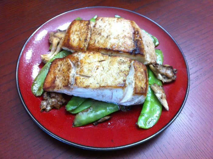 Seared Halibut with snow peas and mushrooms