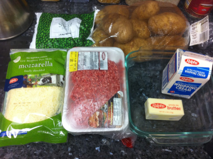ingredients for cottage pie