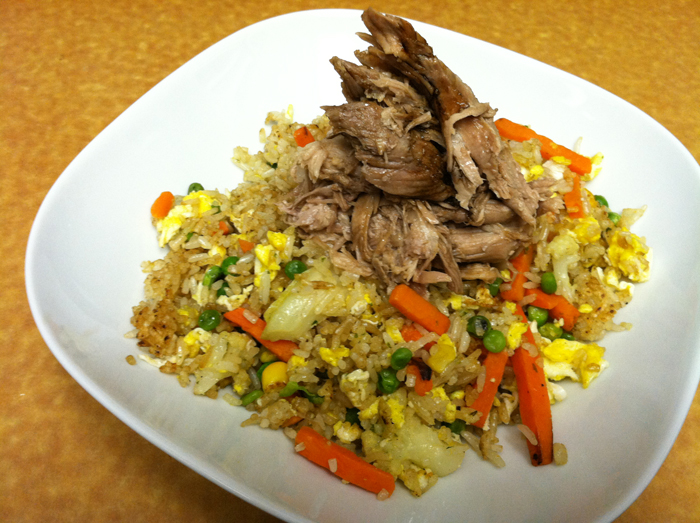 Fried rice with maggi pulled pork