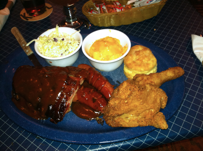 Johnny Rebs Baby Back Ribs, Hot Links and Southern Fried Chicken