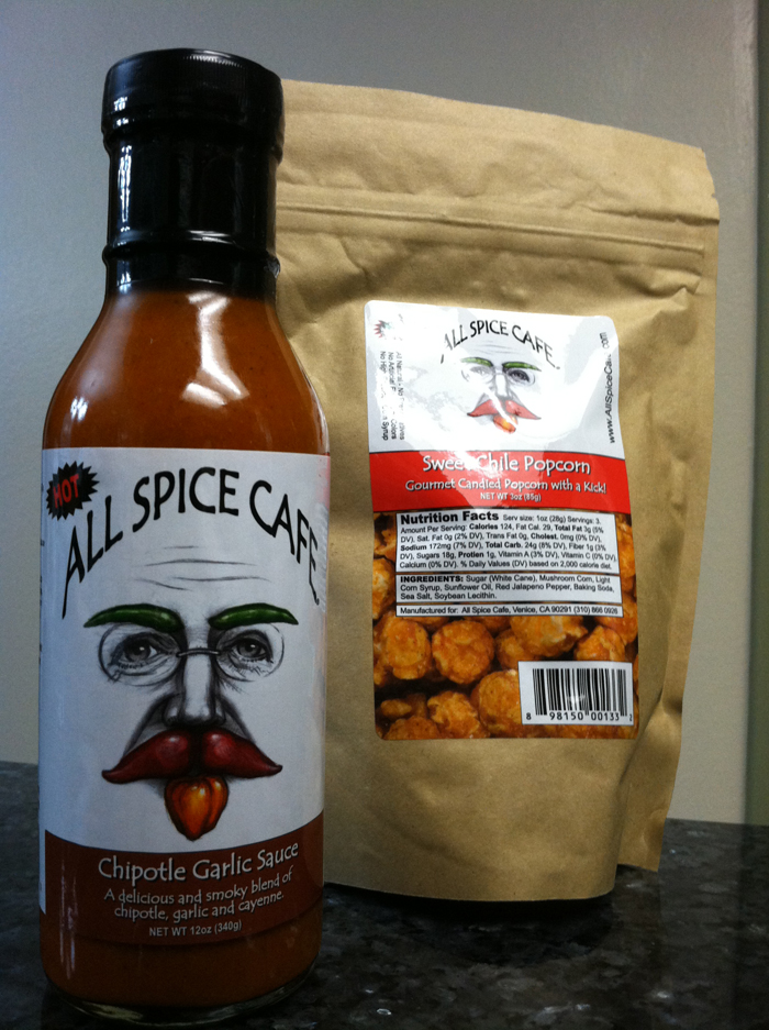 All Spice Cafe Hot Sauce and Sweet Chili Popcorn