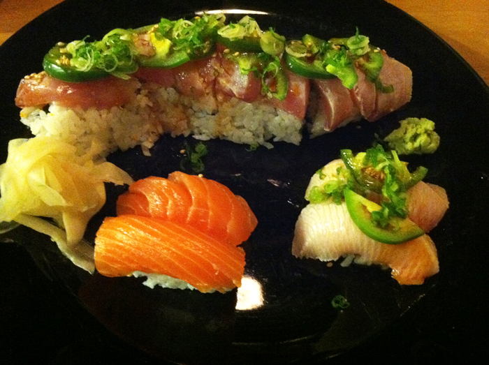 full moon sushi jalapeno yellow tail roll salmon sushi and yellow tail belly sushi