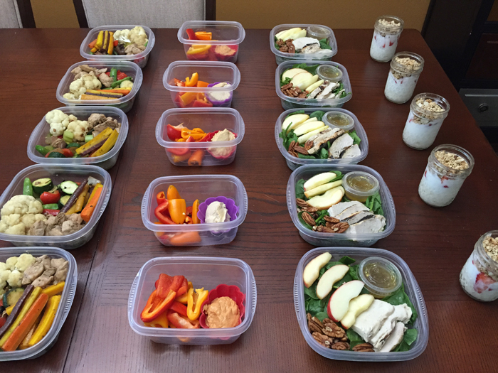 Meal Prep - Vegetable Stir Fry, Hummus, Spinach Salad and Yogurt Parfait