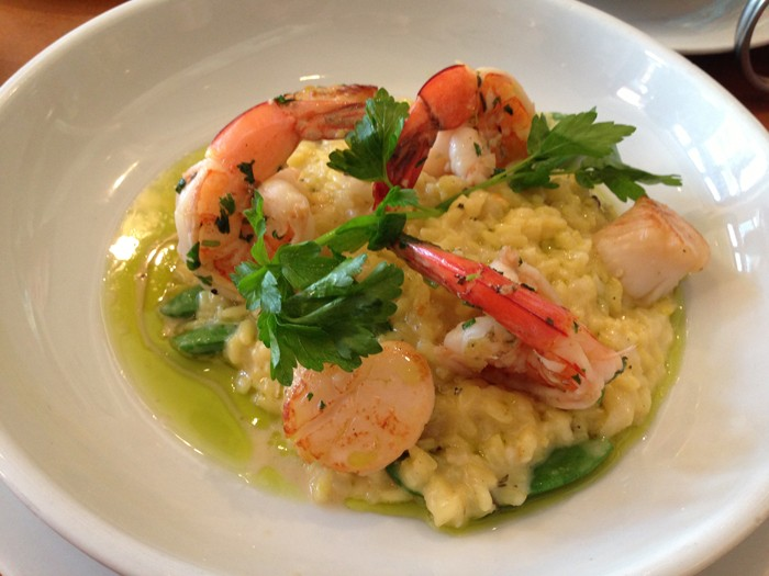 Saffron-Bacon-Risotto-with-Seared-Scallops-and-Shrimp