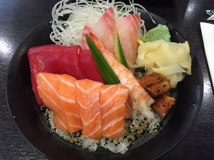Orange Roll and Sushi Chirashi Bowl