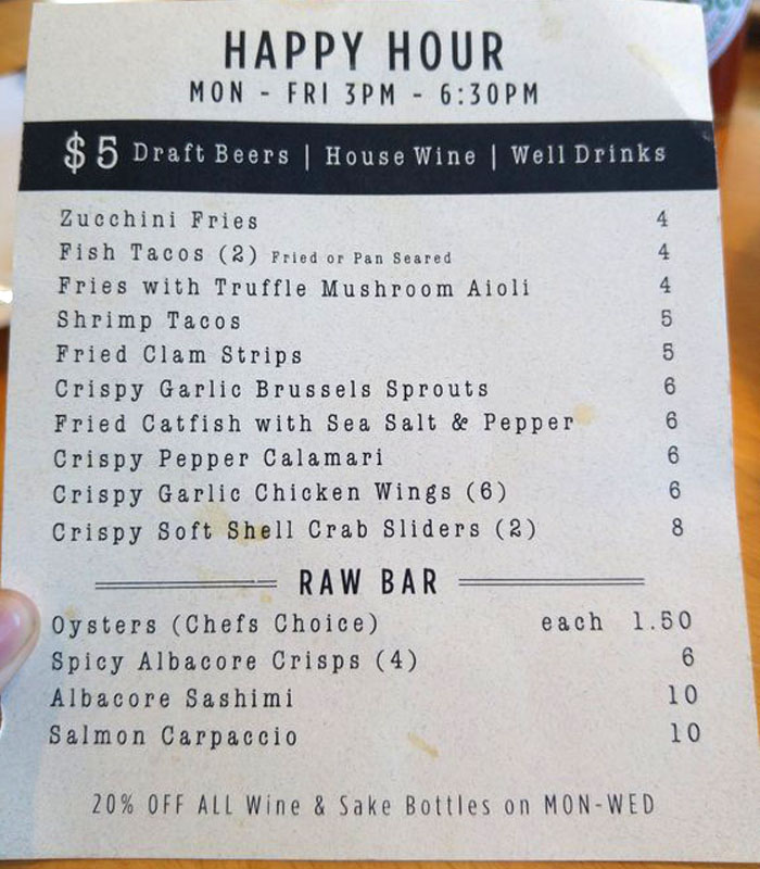 picture of EMC Seafood and Raw Bar happy hour menu